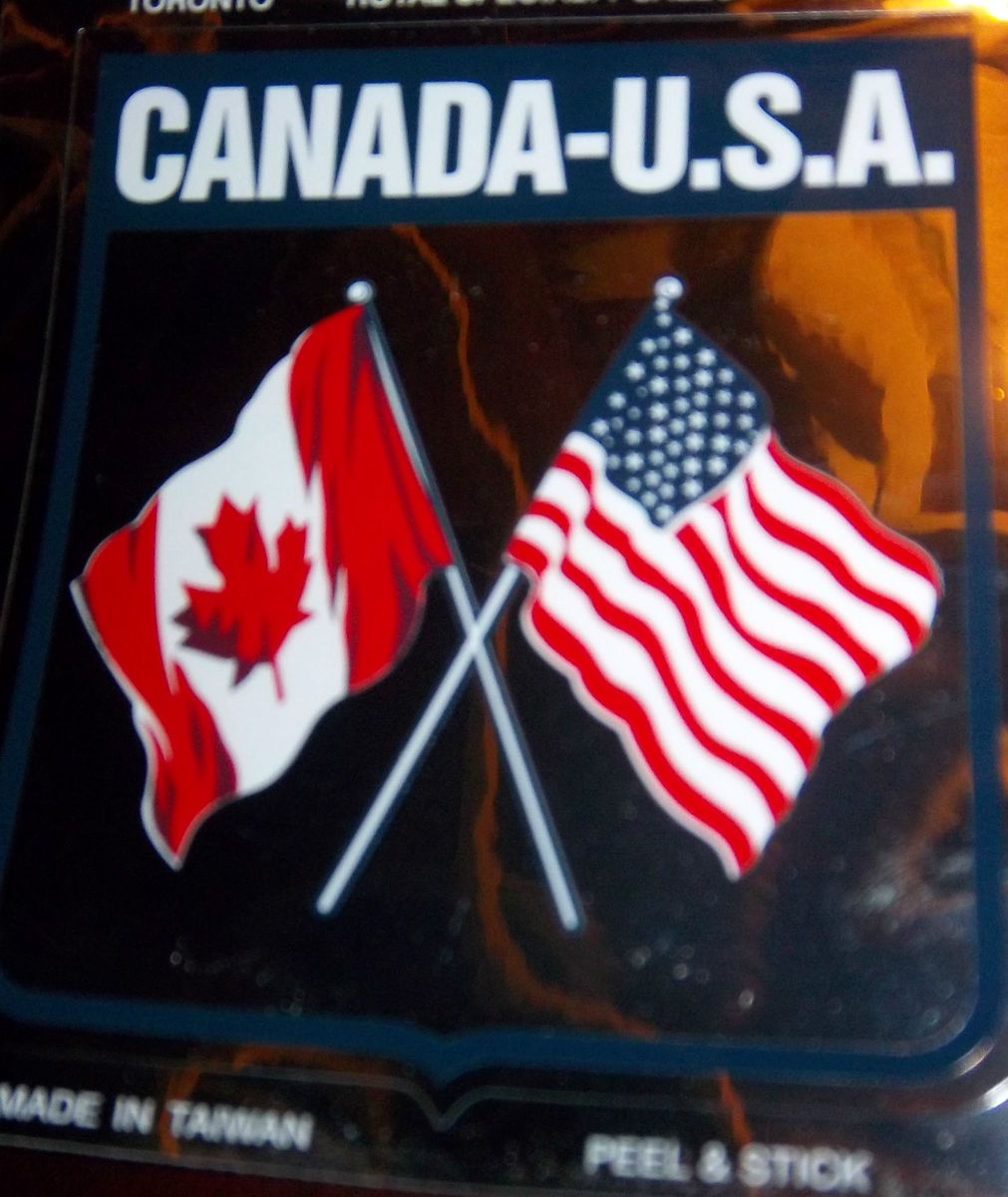 Canada USA Flags Bumper Sticker Auto Crest