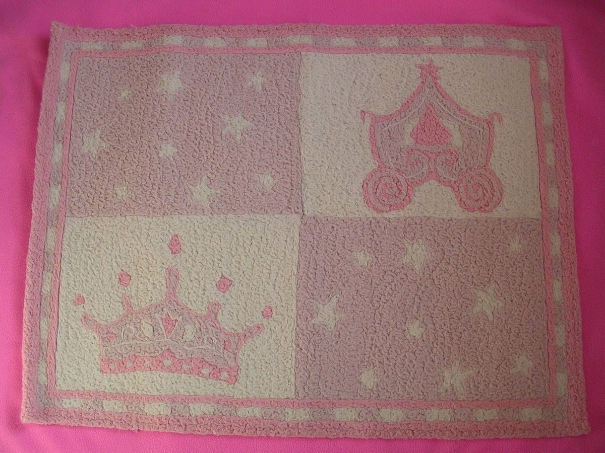 Kids Line Girl Pink Purple White Bedroom Rug Princess Crown Castle