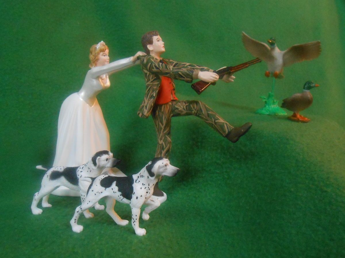 Funny Wedding Cake Topper Real Tree Camo Camoflauge Hunting Duck