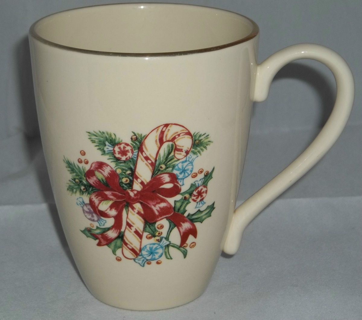 Lenox Holiday Coffee Mug Cup Candy Cane Holly Gold Trim Personalized