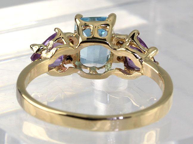 Cut Blue Topaz Trillion Amethyst Diamond 14k Yellow Gold Ring