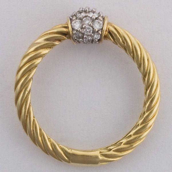 NWOT DAVID YURMAN 18k Yellow Gold Cable Ring 6 w PAVE DIAMOND BALL