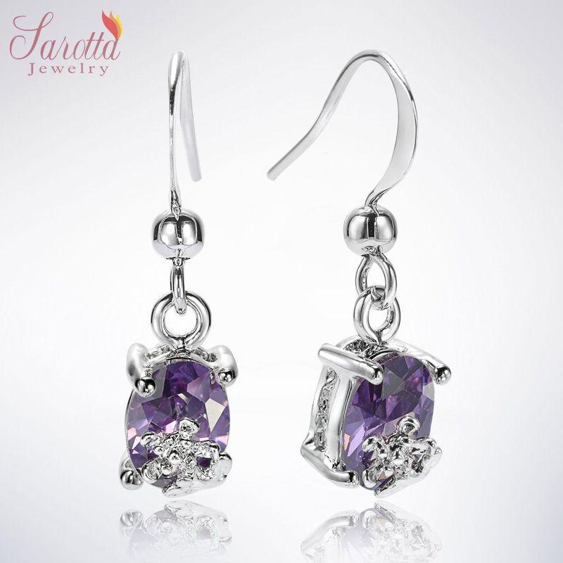 Fashion Jewelry Gift Oval Cut Purple Tanzanite White Gold GP Dangle