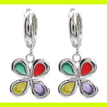 Fashion Jewelry Lady Red Green Purple Sapphire White Gold GP Hoop