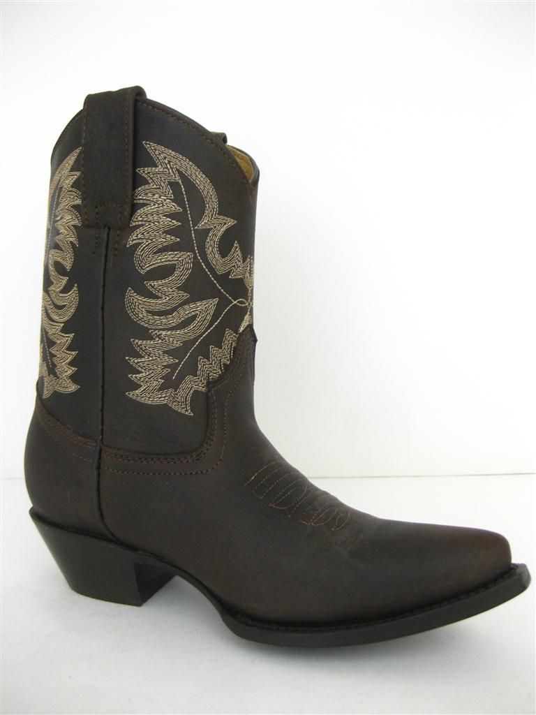 Womens Ladies Short Brown Authentic Leather Sexy Western Cowboy Boots