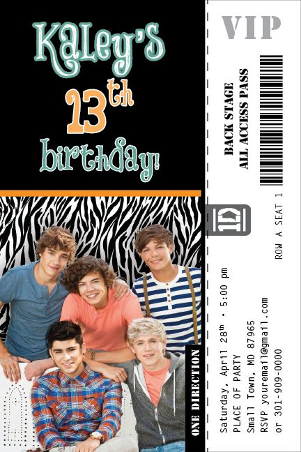One Direction Zebra Print Invitation Colored Ticket Rock Pop Star Band