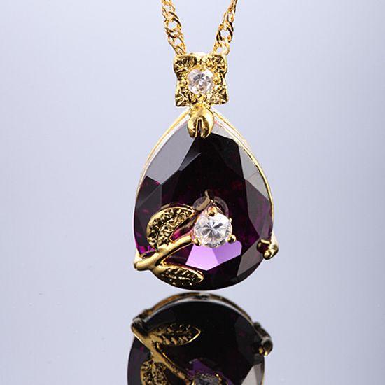 Lady Fashion Jewelry Pear Cut Purple Amethyst Gold TN Pendant Necklace