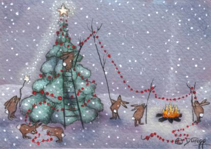 ACEO Christmas Tree Snow Rabbits Cranberry Garland Campfire Star