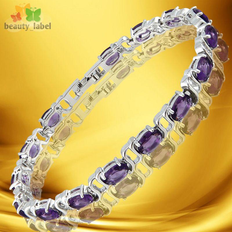 Fashion Lady Jewelry Purple Amethyst White Gold Plated GP Tennis