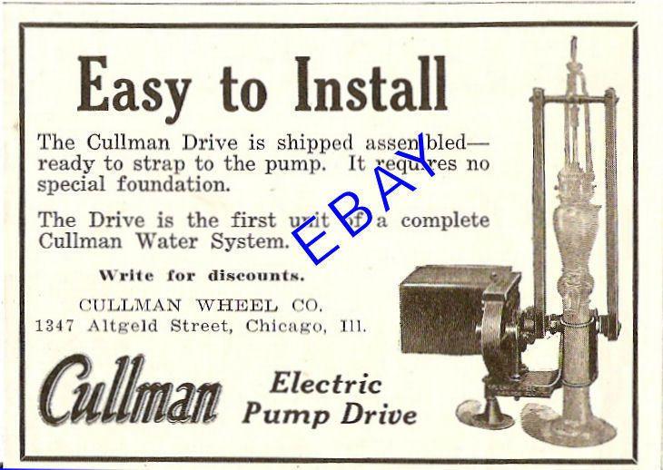 1930 Cullman Electric Water Pump Drive Ad Chicago IL