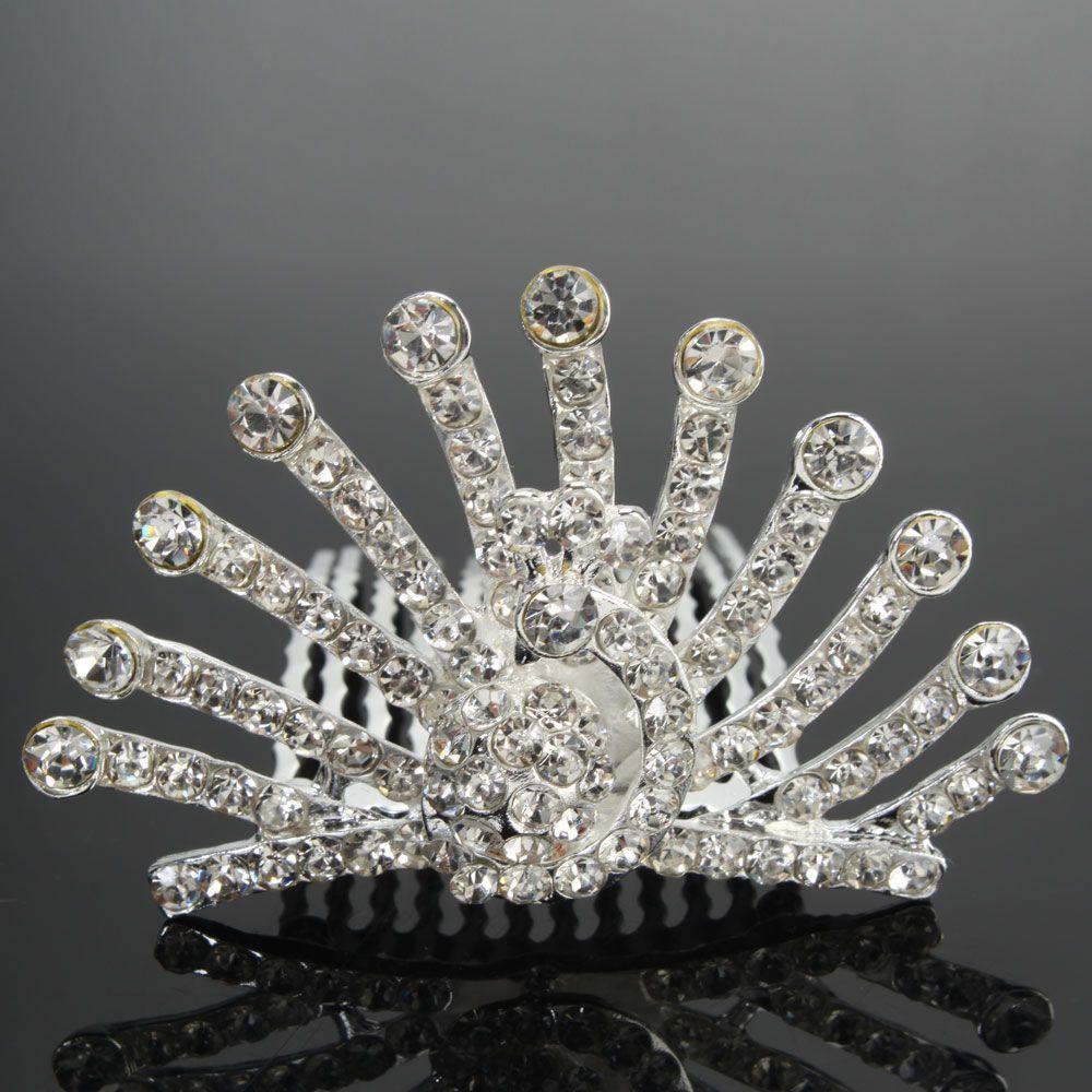 New Peacock Style Rhinestone Crown Tiara Wedding Bridal Hair Comb Pin