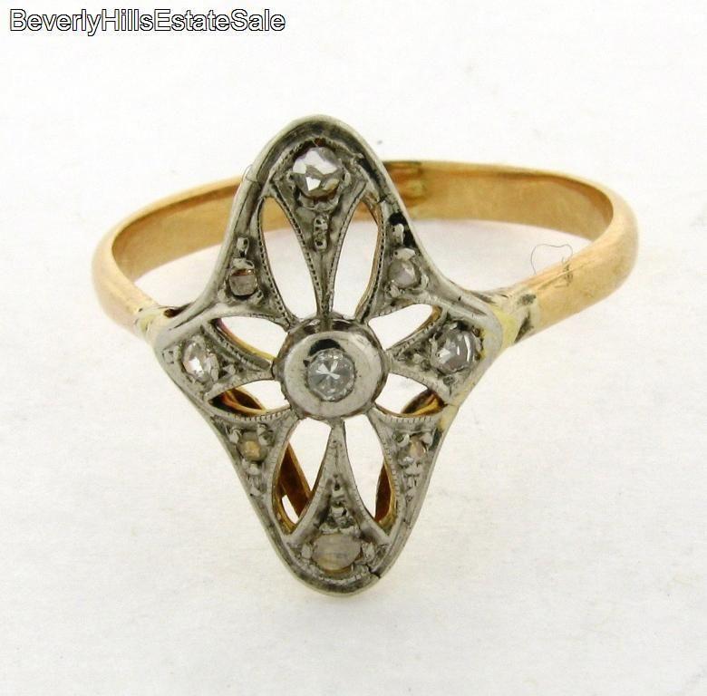 Antique Art Deco 18K White Yellow Gold Diamonds Ring