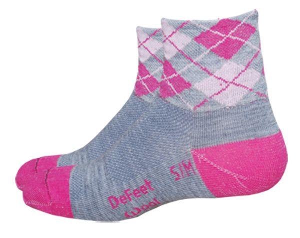 DeFeet Womens Wooleator PINK ARGYLE Merino Wool Socks all sizes