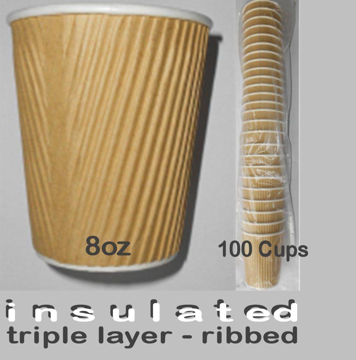 100 x Disposable Paper Cups 8oz Brown Rib Coffee Tea Machines Hot