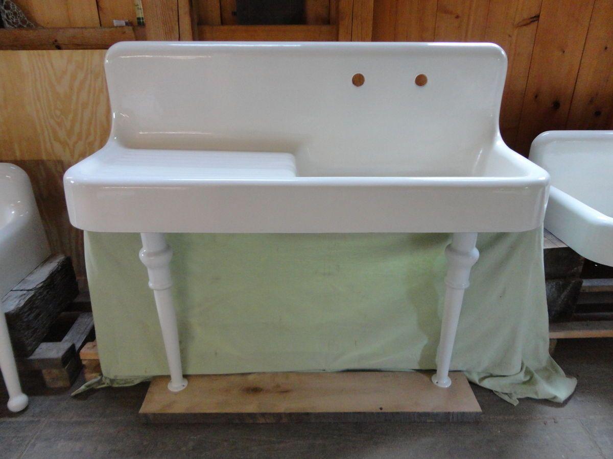 Farmhouse Sink With Legs : Antique Cast Iron Farm Farmhouse drainboard Kitchen Sink legs vintage