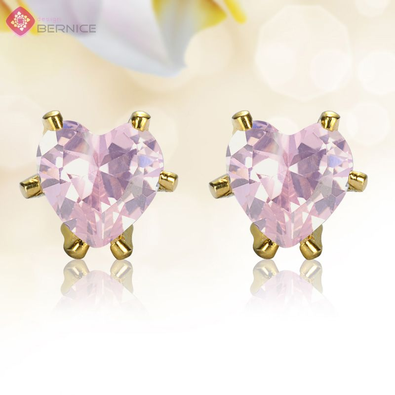 Jewelry Sale Heart Cut Pink Sapphire Yellow Gold Plated Stud Earrings