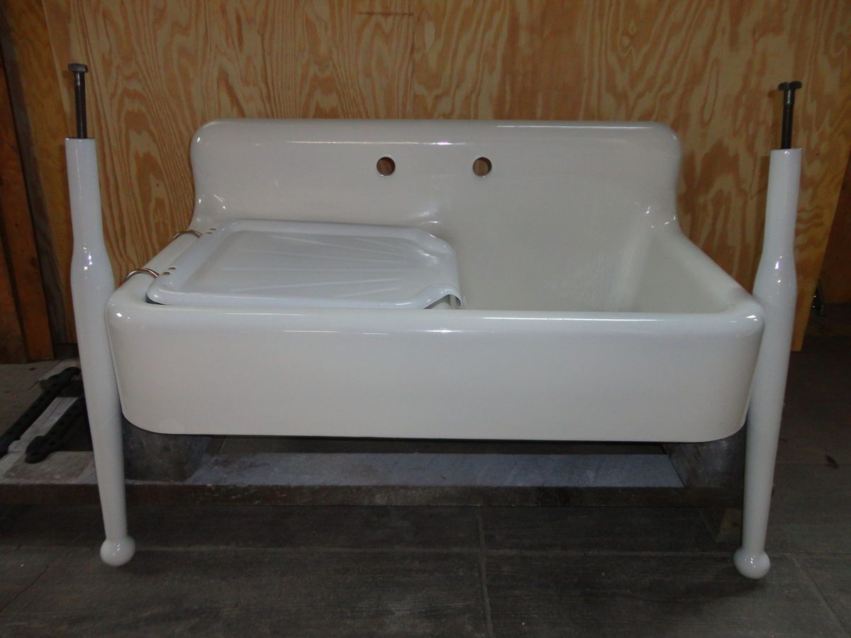Farmhouse Kitchen Sink With Drainboard : Kitchen Sinks With Drainboard Porcelain By Porcelain Kitchen Sink ...