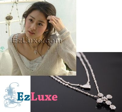 Korean Drama TV Stairway to Heaven Cubic Cross Necklace