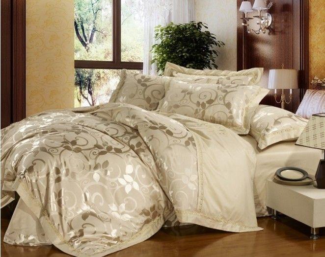 New Pure Full Queen Cream Vine Quilt Cover Duvet Cover Set Bedding 100