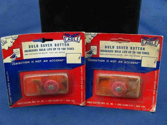 Two Eagle Bulb Saver Button Bulb Miser Incandescent Light Bulb Savers