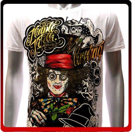 M38W Minute Mirth s M L XL T Shirt Tattoo Joker Skull Graffiti Ghost