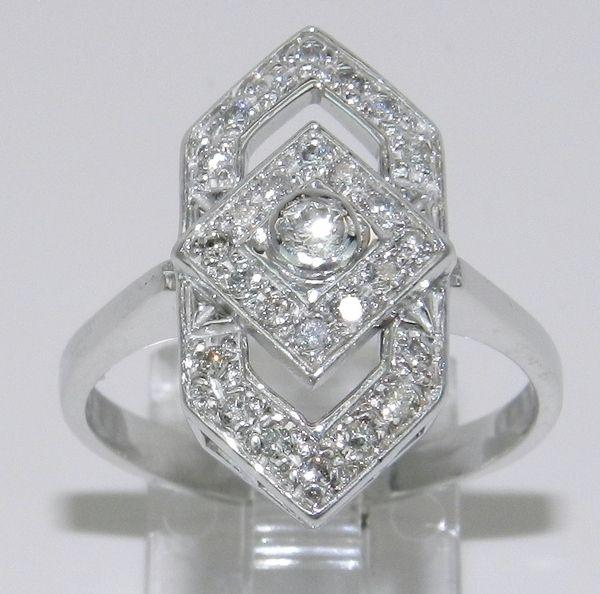 Vintage Estate Antique 14K White Gold Diamond Cocktail Ring Sizeable