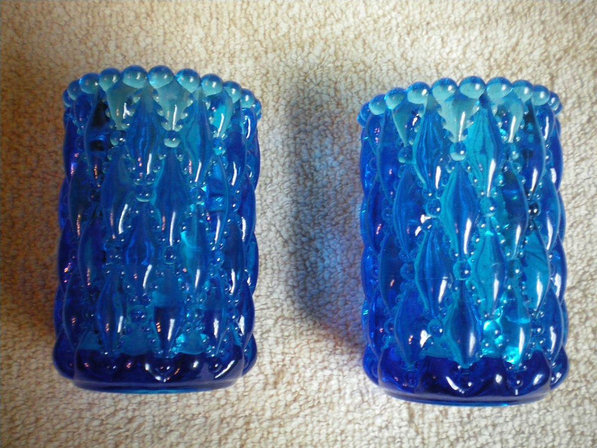Blue Glass Diamond Beaded Pattern Votive Candle Holders