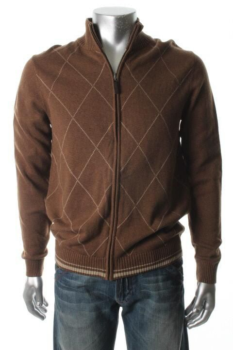 Tasso Elba New Brown Ribbed Trim Full Zip Casual Mock Turtleneck