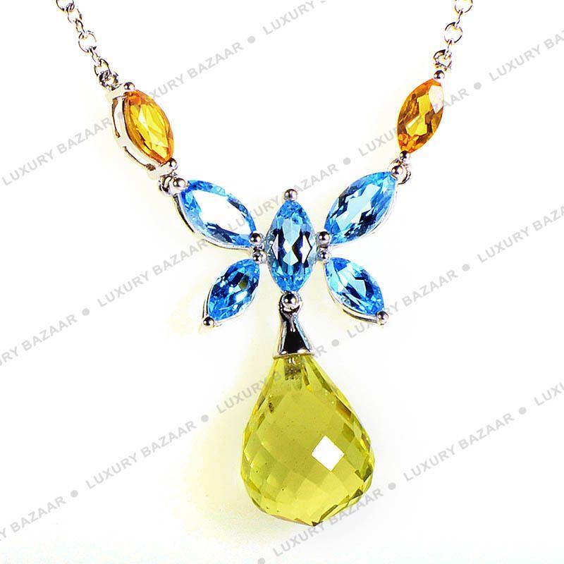 LeVian 14k White Gold Multi Stone Butterfly Necklace