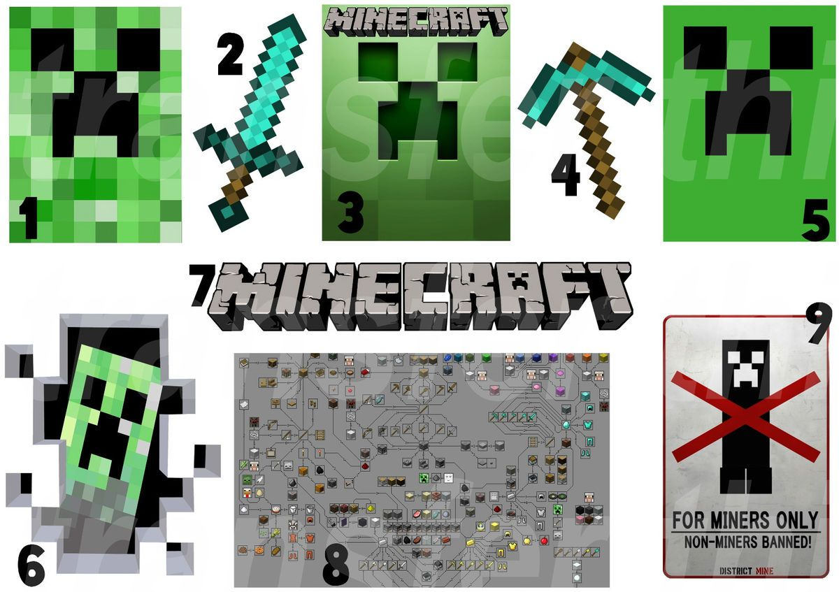 Minecraft Iron on T Shirt Fabric Transfer Creeper