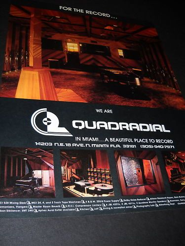 Quadradial Recording Studio N Miami FL 1978 Promo Ad