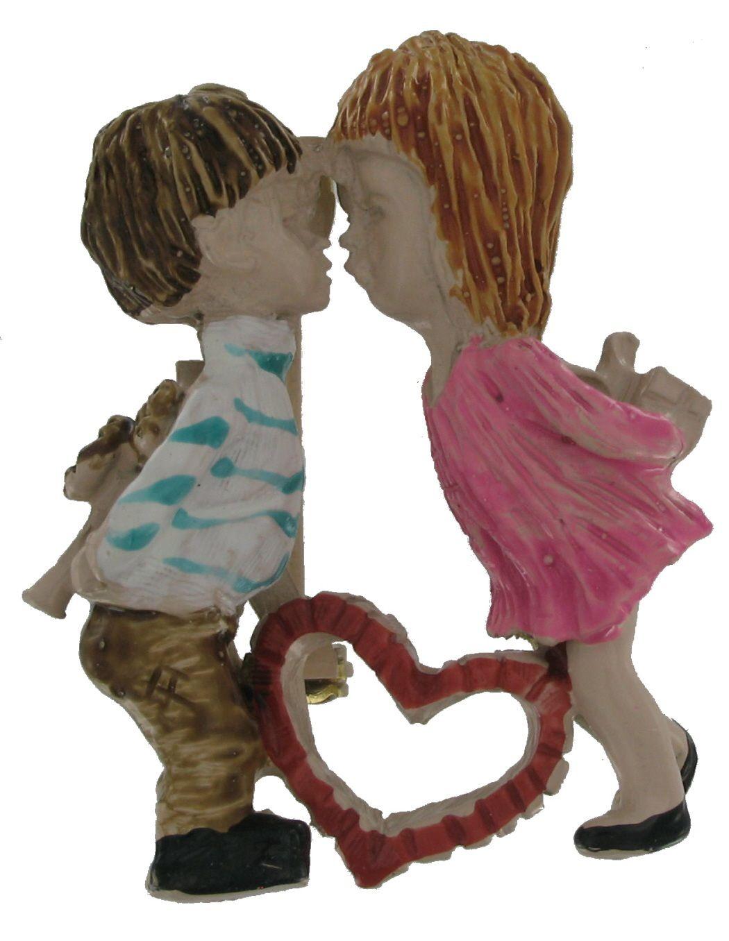 Vintage Fran Mar Moppets Red Heart Kissing Boy Girl Pin