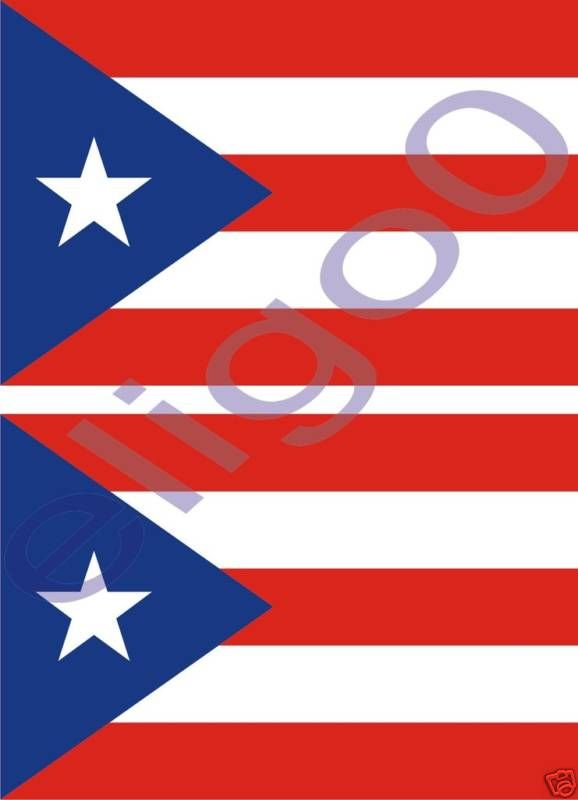 Puerto Rico State 2X Flags Bumper Stickers Decals USA