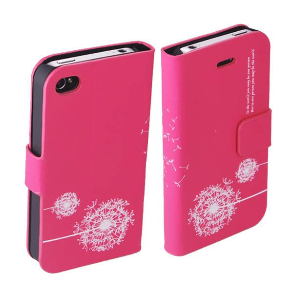 Dandelion Pattern PU Leather Flip Case Cover for Apple iPhone 4 4S Hot