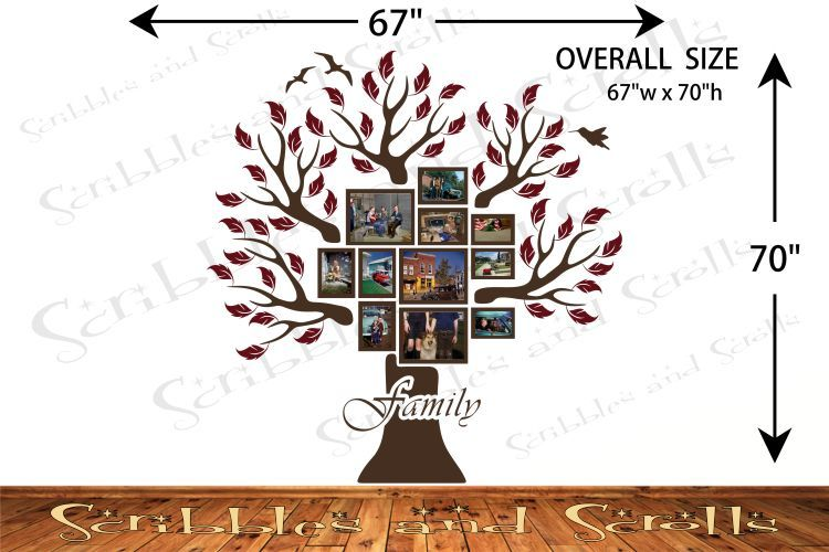 Tree w/ Photo Frames 2 Wall Decal Sticker Family Branch Art Word