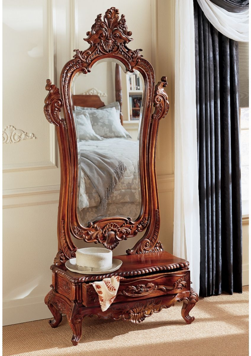 Hand Carved Solid Mahogany Dressing Standing Full Length Floor Mirror