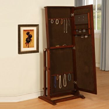 Jewelry Armoire With Front Full Length Mirror Free Standing Unit