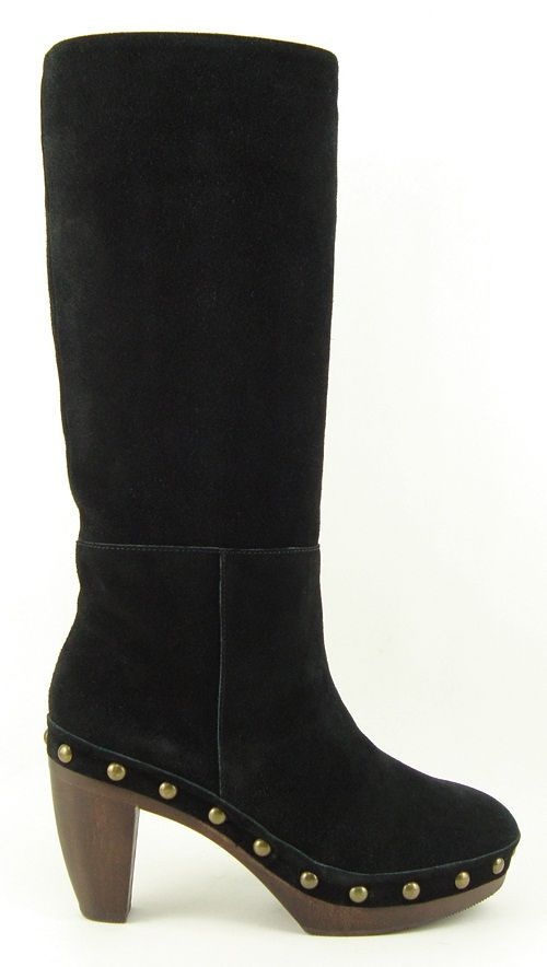 Steven Steve Madden Geraldyn Black Suede Womens Shoes Knee High Clog
