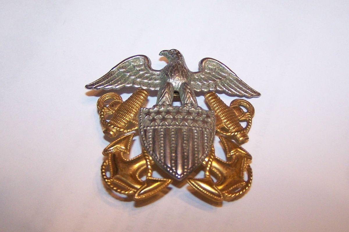 US Navy USN Sterling Silver GOLD Hat Badge Pin Eagle Shield Anchors