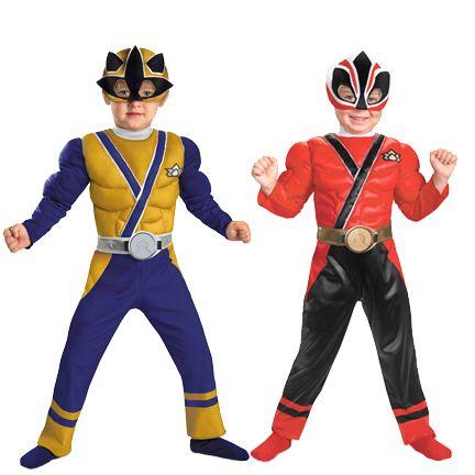 Show Nick Super Power Rangers Samurai Muscle Gold Red Costume
