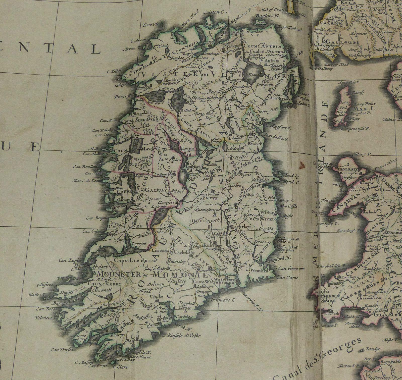 United Kingdom Ireland 1692 Jaillot Very Large Antique Engraved Chart