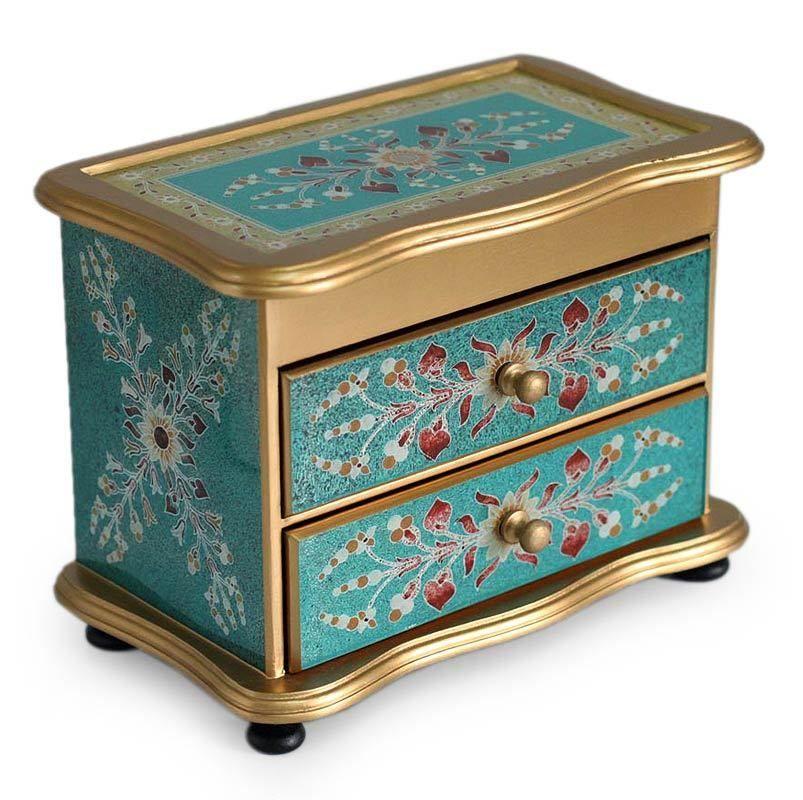 Turquoise Peru Reverse Painted Glass Jewelry Box Novica