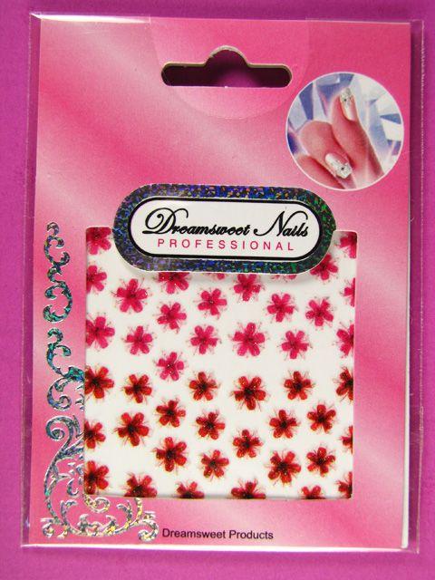 Glitter Gel Flower Nail Art Stickers Floral Decals NFC02