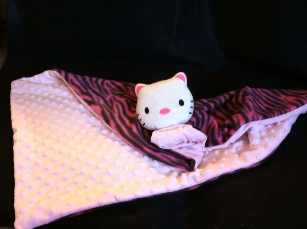 Handmade Hello Kitty Baby Blanket Security Minky Dot Pink Fleece Pink