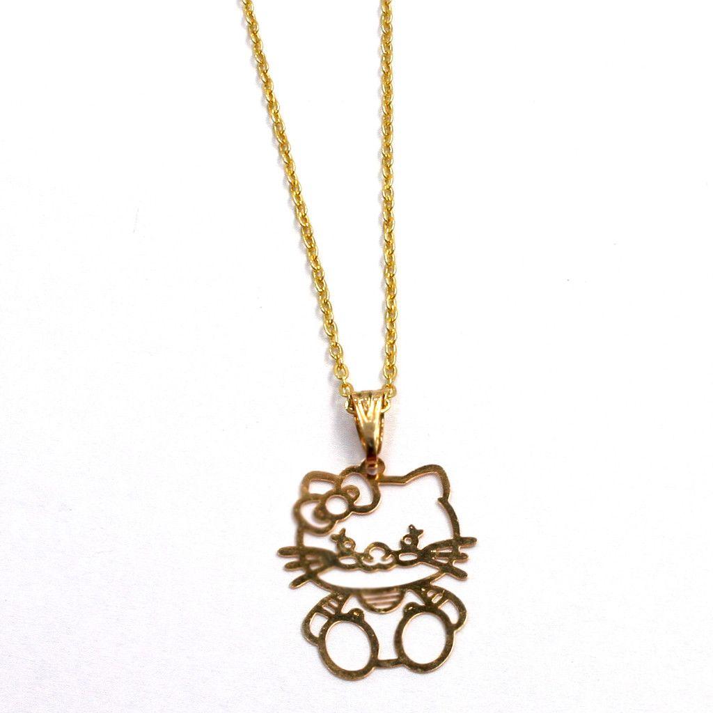 Earrings Gold 18K GF Girl Infants Filigree Hello Kitty Pendant Charm