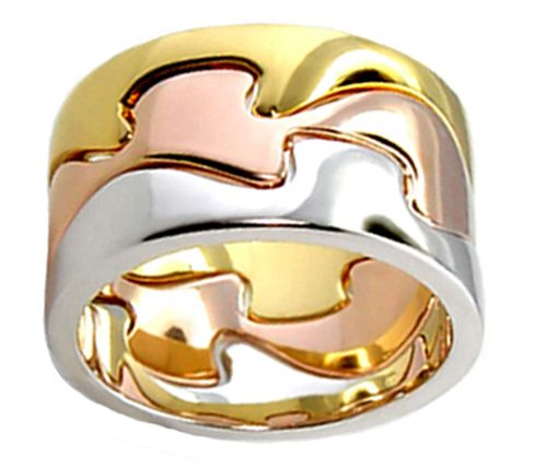 Unique Tri Color Gold Rose Gold Plated Puzzle Ring Size 5 6 7 8 9 10