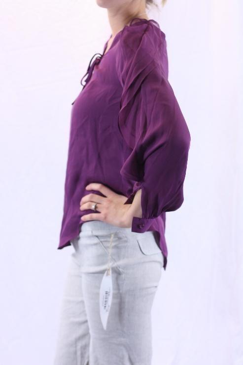 NWT Haute Hippie Purple Silk LS V Neck Ruffle Flutter Sleeve Sheer