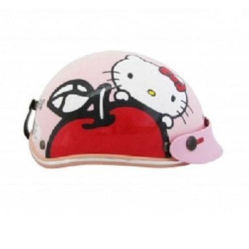 Hello Kitty Kids Motor Bike Helmet Harley Apple Pink White Hotpink