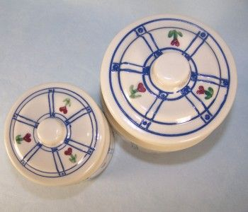 Canisters Hartstone Pottery Artisan Blue Red Hearts Country Kitchen
