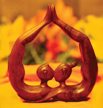 Hearts Kiss Artisan Hand Carved Wood Statue Sculpture Novica Bali